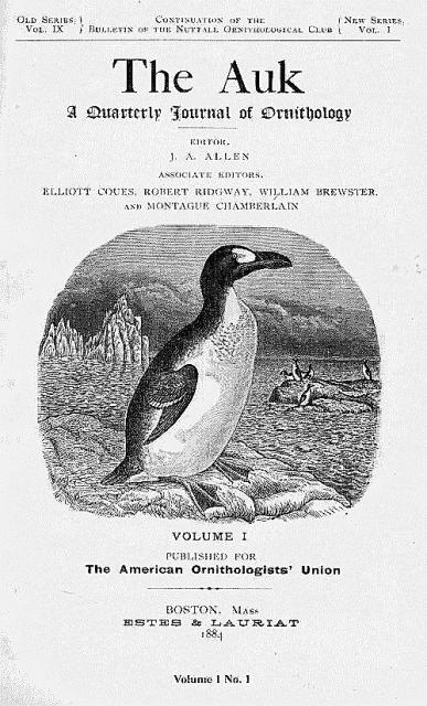 Cover of The Auk journal 1884