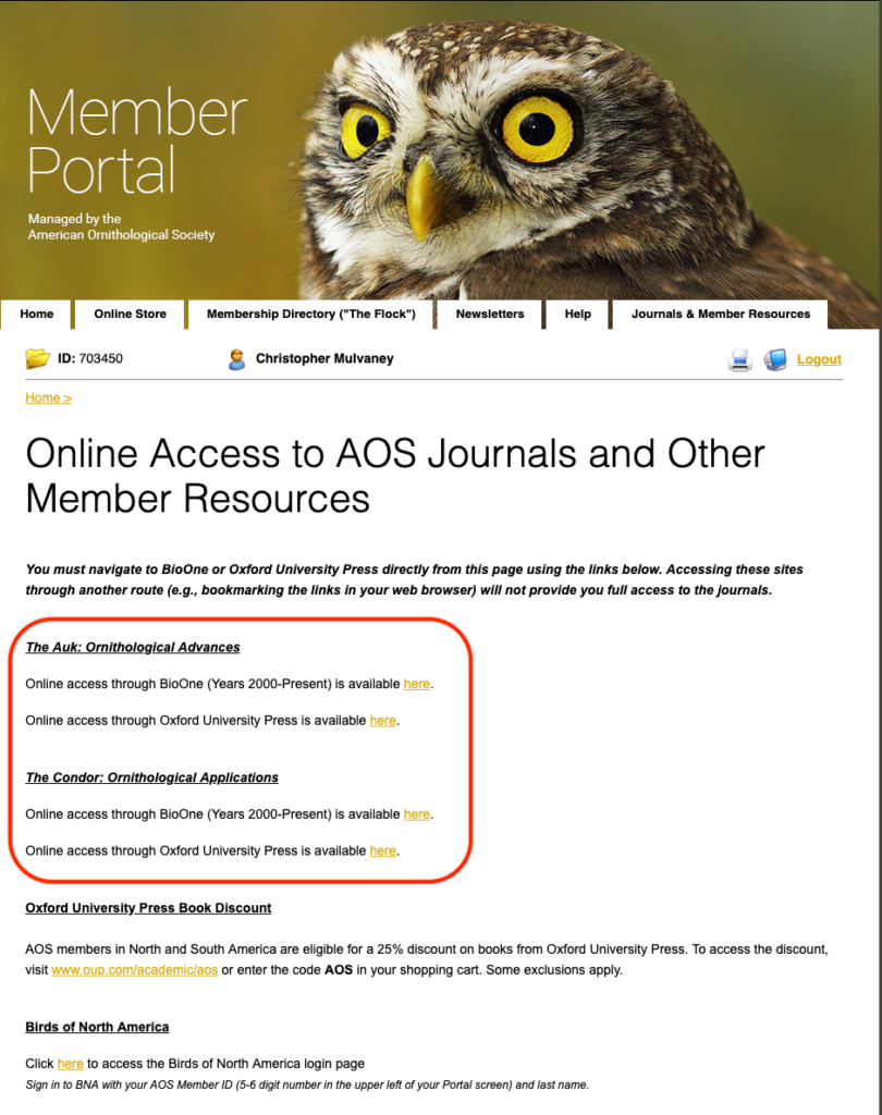 journal access screenshot