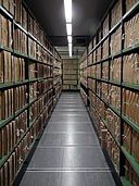 corridor lined with files - ornithology archives